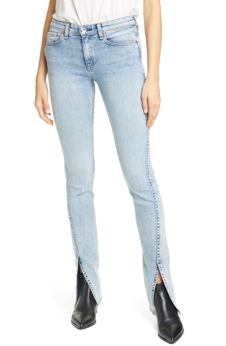 RAG & BONE Cate Split Hem Skinny Jeans, Main, color, CLOUDY