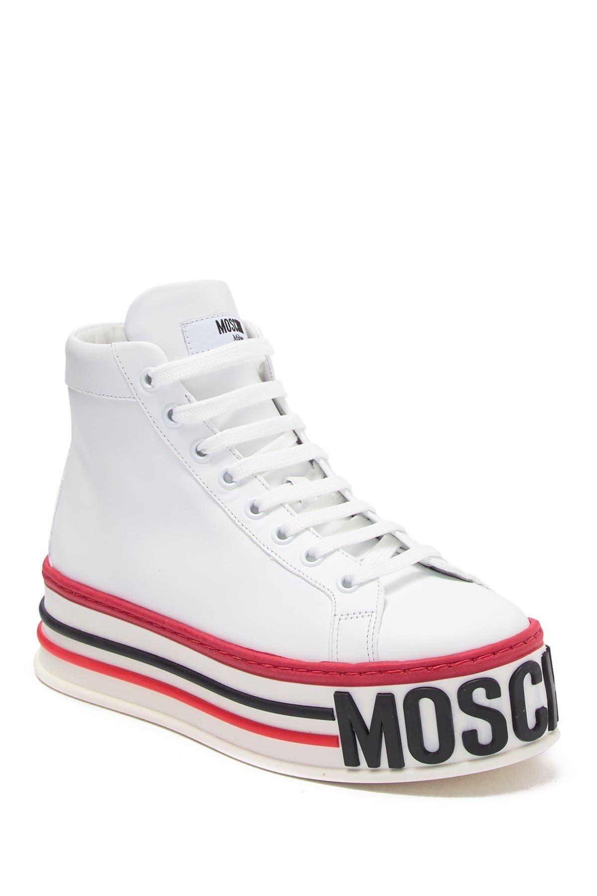 Image of MOSCHINO Brand Embossed High Top Platform Sneaker