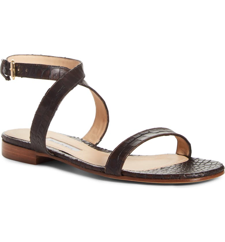 EMME PARSONS Siena Croc Embossed Ankle Strap Sandal, Main, color, DARK BROWN EMBOSSED CROC