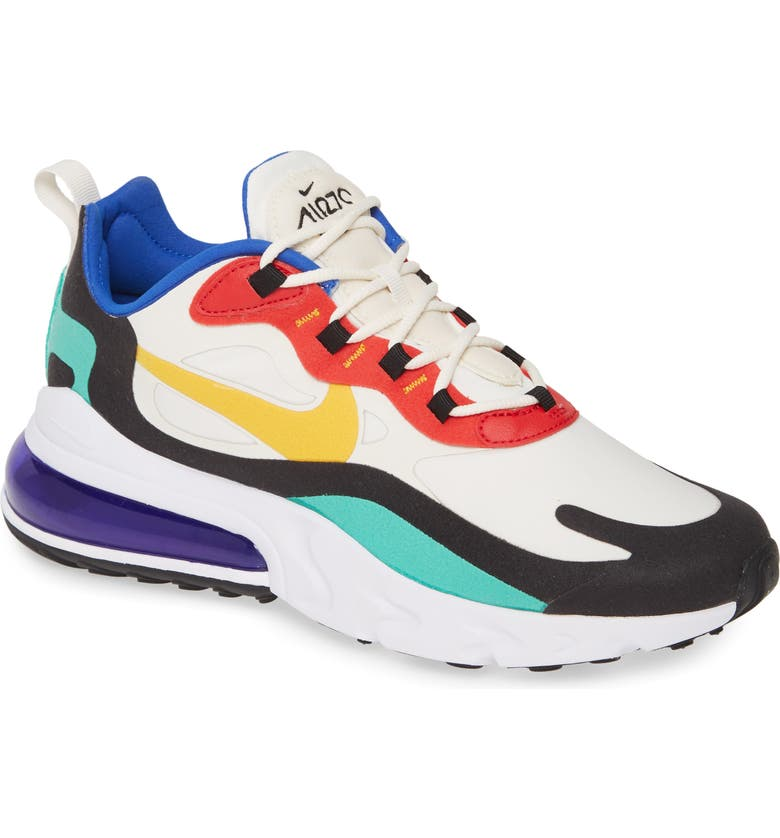 NIKE Air Max 270 React Sneaker, Main, color, PHANTOM/ GOLD/ RED