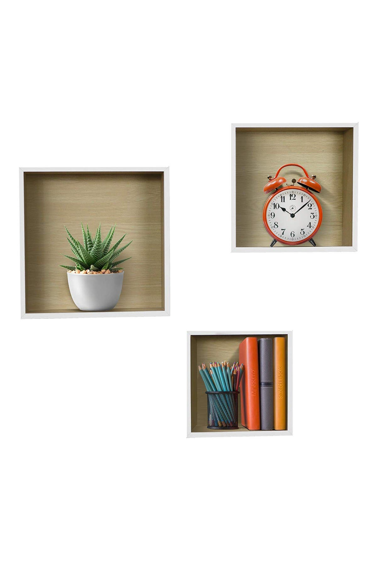 Image of Sorbus Floating Wood Box Shelves - Set of 3 - White