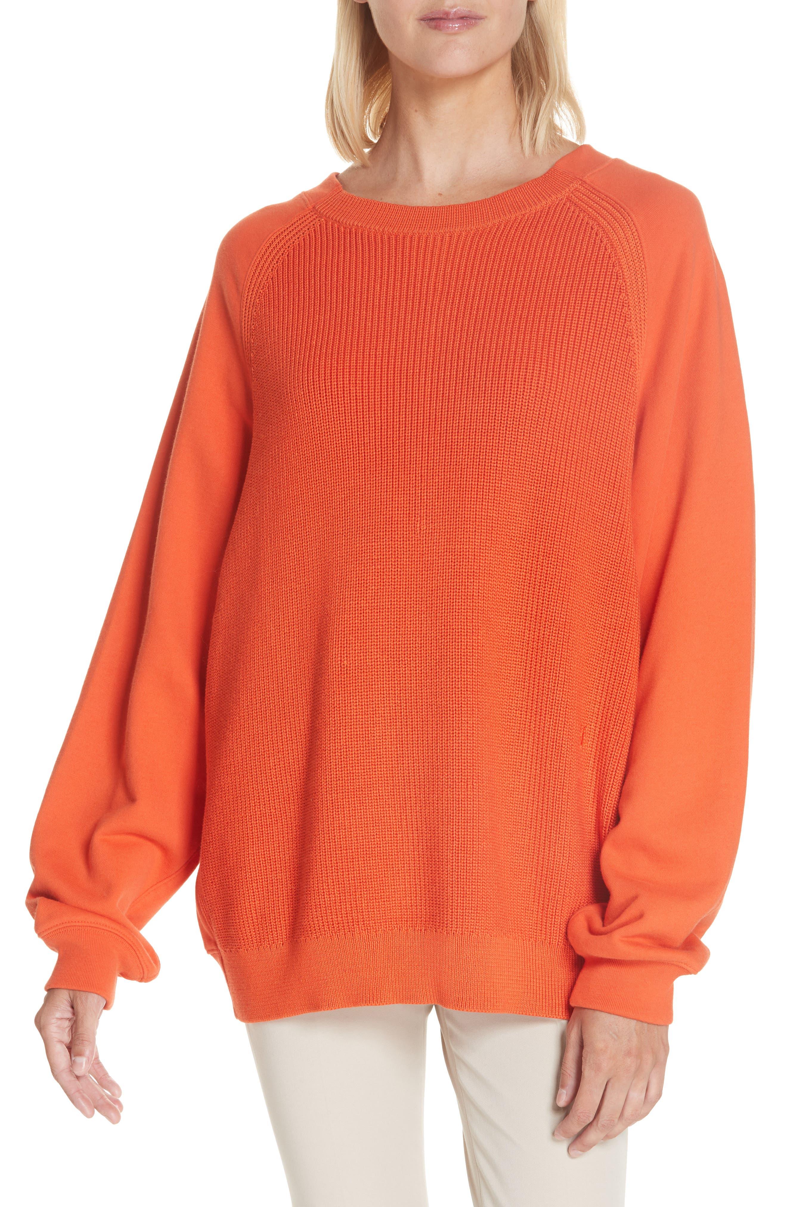 ,                             Sweater Panel Sweatshirt,                             Main thumbnail 1, color,                             MAGMA