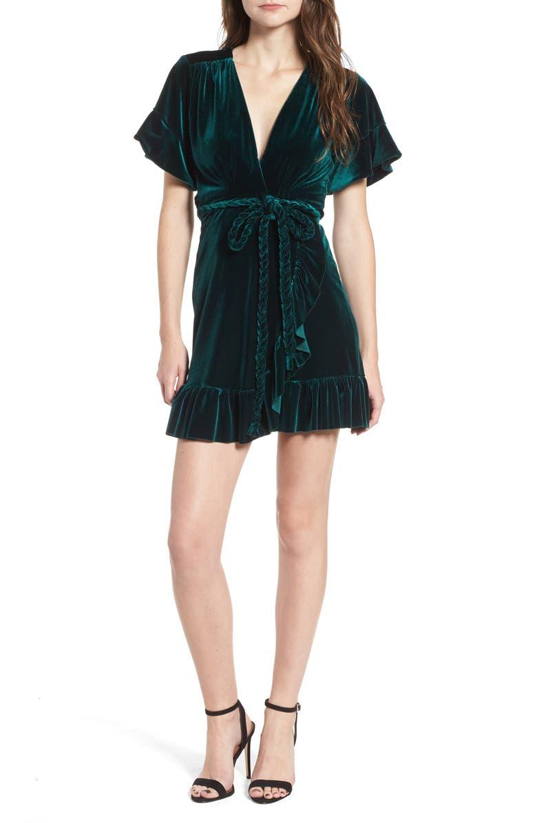 MISA LOS ANGELES Desma Velvet Wrap Minidress, Main, color, 300