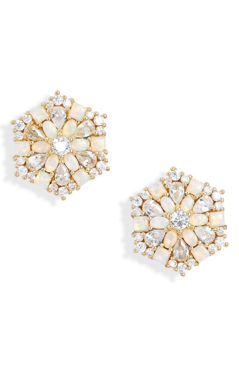 MELINDA MARIA Aurora Stud Earrings, Main, color, GOLD/ WHITE OPAL/ WHITE CZ