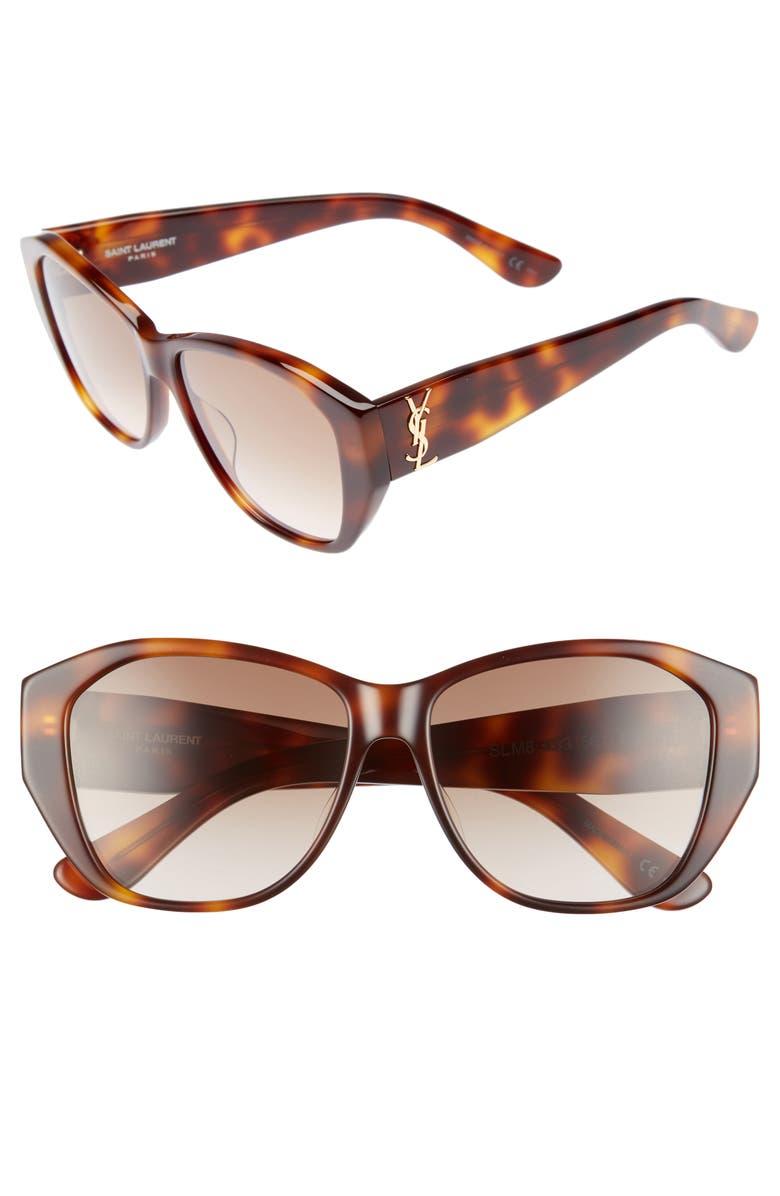 SAINT LAURENT 56mm Sunglasses, Main, color, HAVANA/ HAVANA/ BROWN