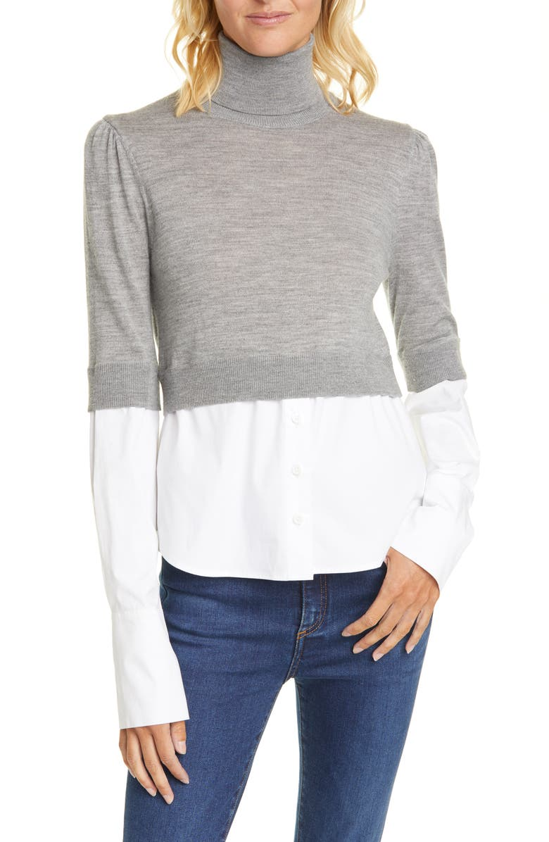 VERONICA BEARD Nina Mixed Media Sweater, Main, color, GREY MELANGE