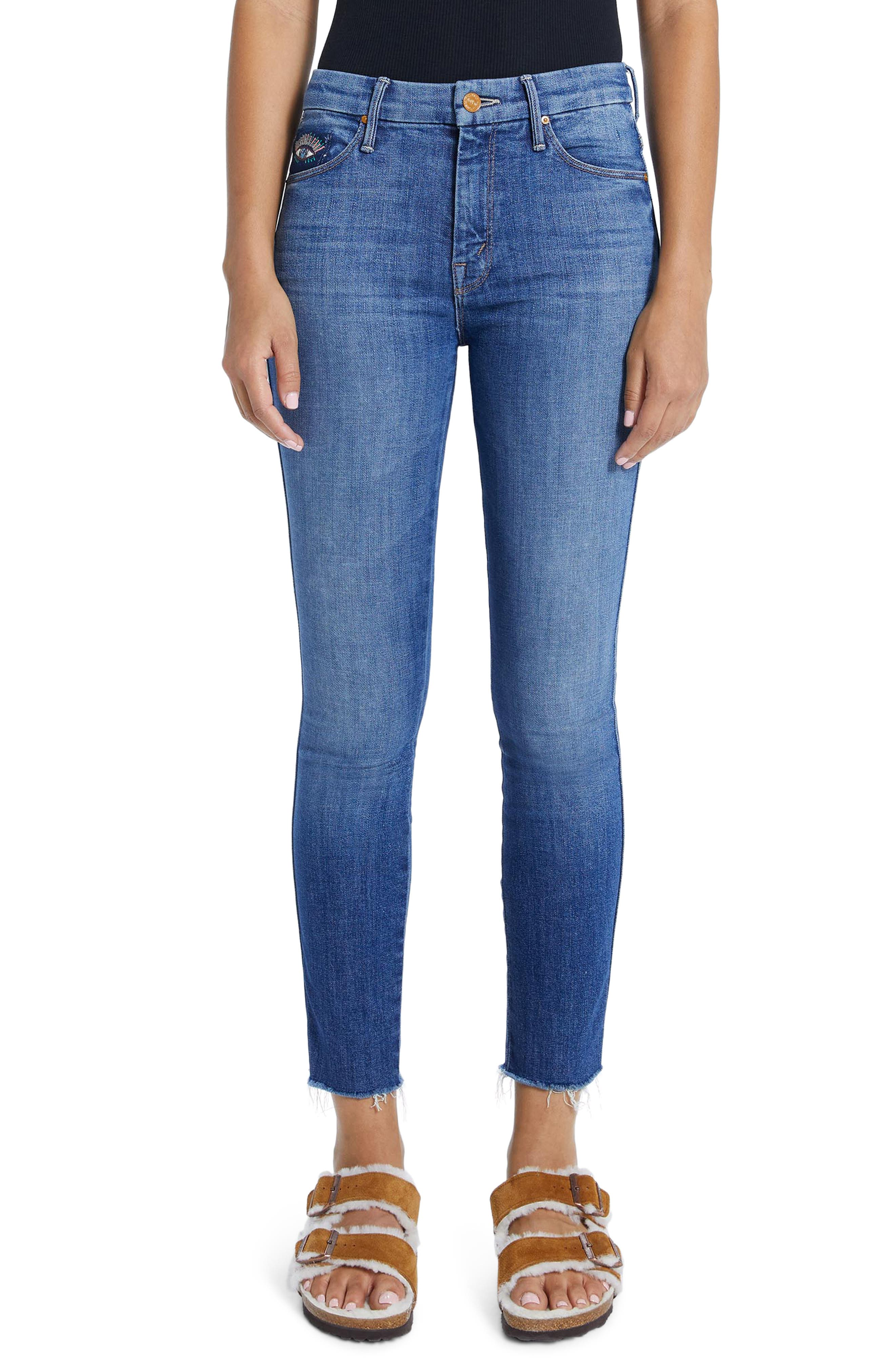 MOTHER The Double Looker High Waist Fray Hem Ankle Skinny Jeans (Fruit Carts) | Nordstrom