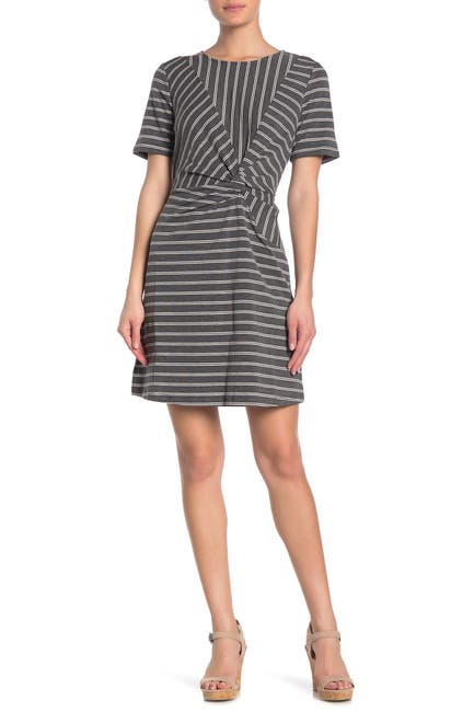 Image of &.Layered Striped Twist Front Dress