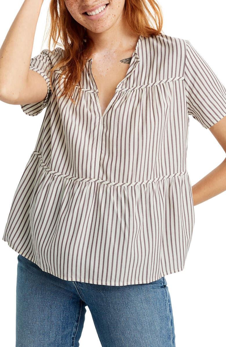 MADEWELL Seamed Popover Top in Dunfield Stripe, Main, color, EMILY STRIPE MANOR PURPLE