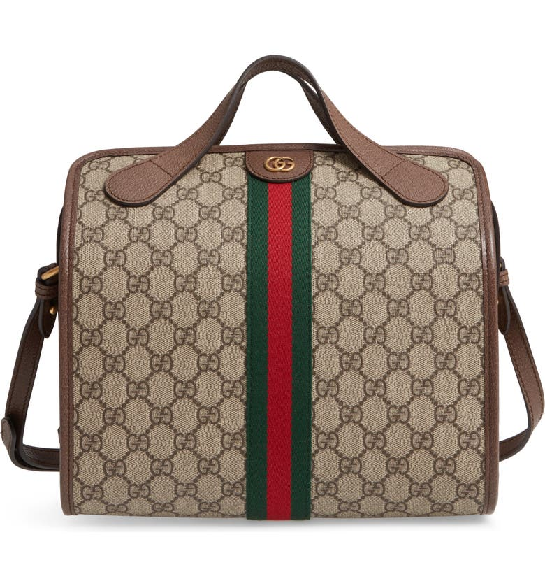 GUCCI Small Leather Duffle Bag, Main, color, 284
