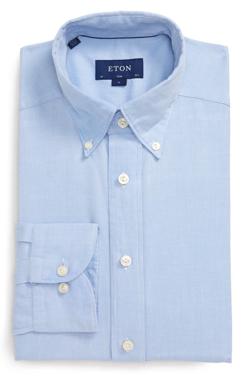 ETON Soft Casual Line Slim Fit Oxford Shirt, Main, color, BLUE