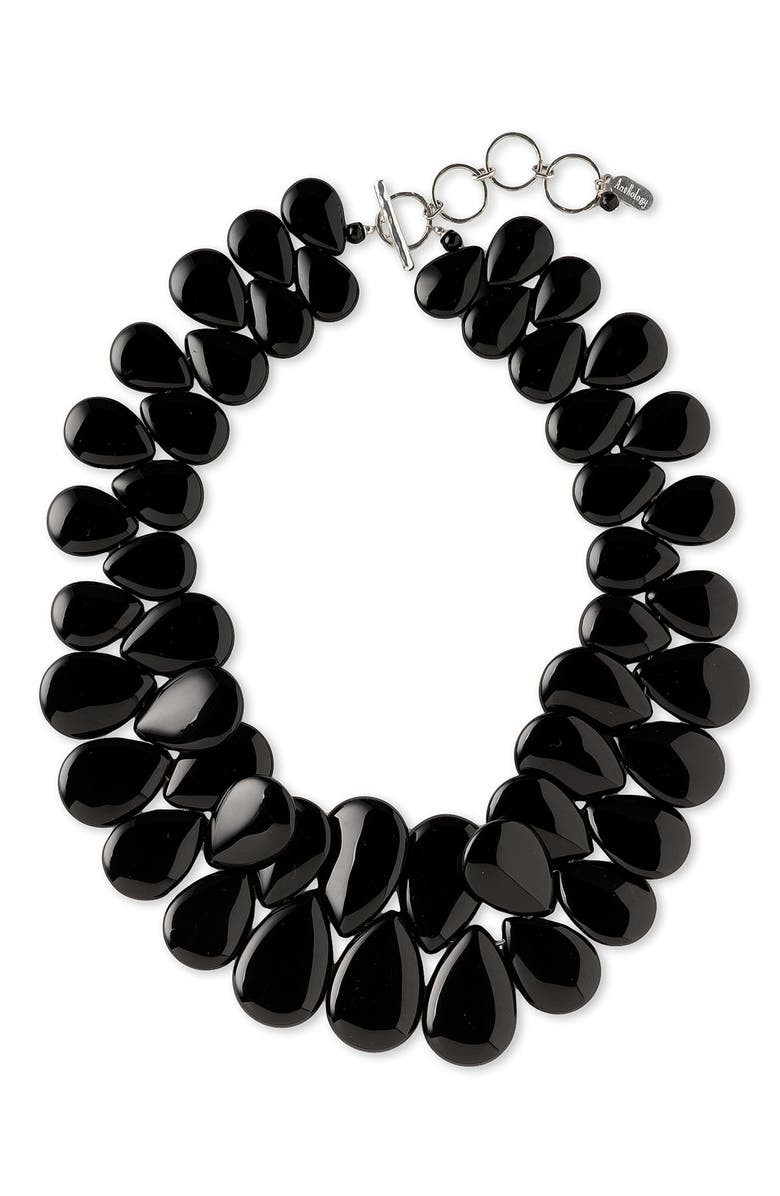 ANTHOLOGY Graduated Semiprecious Stone Teardrop Necklace, Main, color, 001