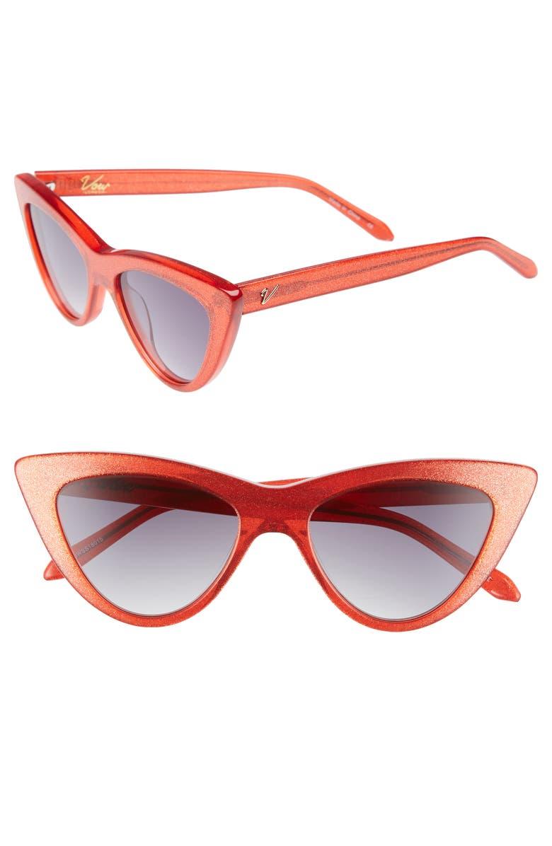 VOW LONDON Nancy 53mm Cat Eye Sunglasses, Main, color, RED GLITTER/ SMOKE