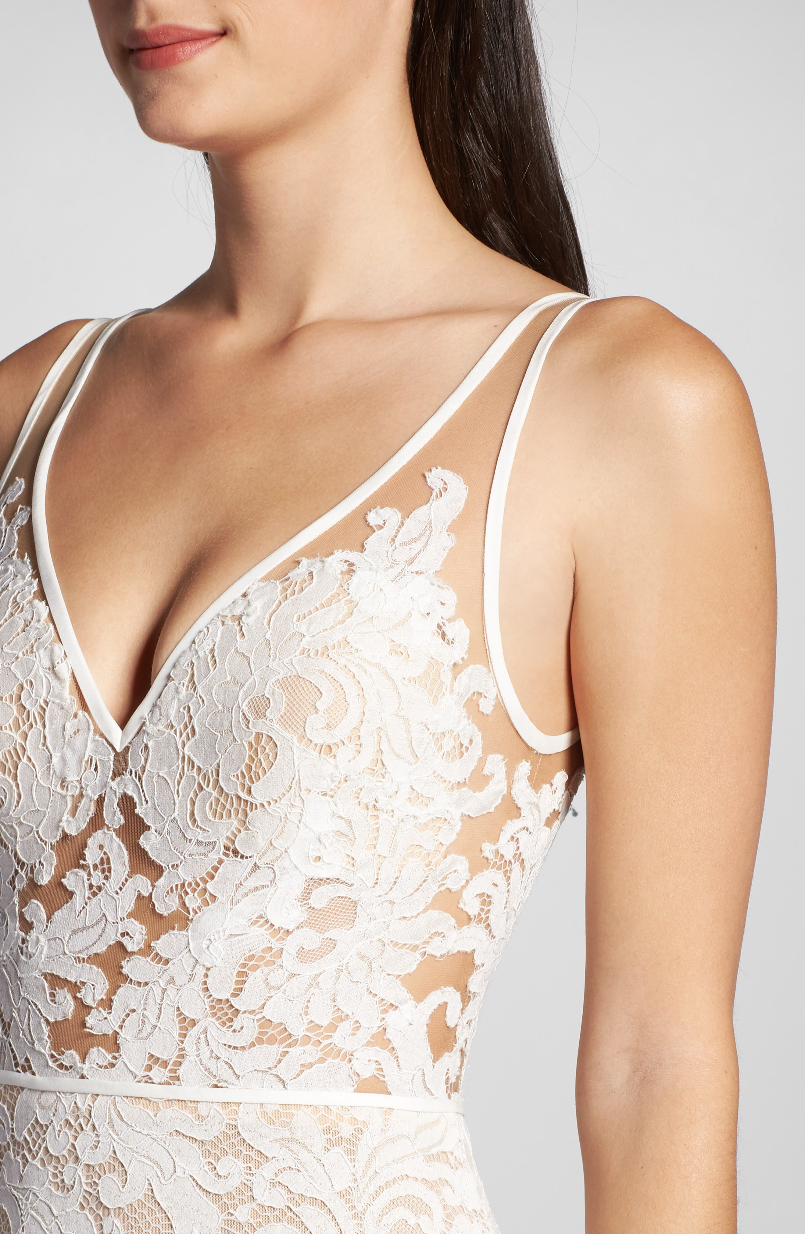 ,                             Derica Lace Gown,                             Alternate thumbnail 4, color,                             IVORY / NUDE