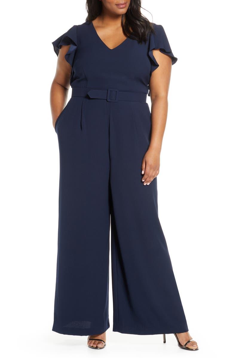 ELIZA J Flutter Sleeve Jumpsuit, Main, color, NAVY