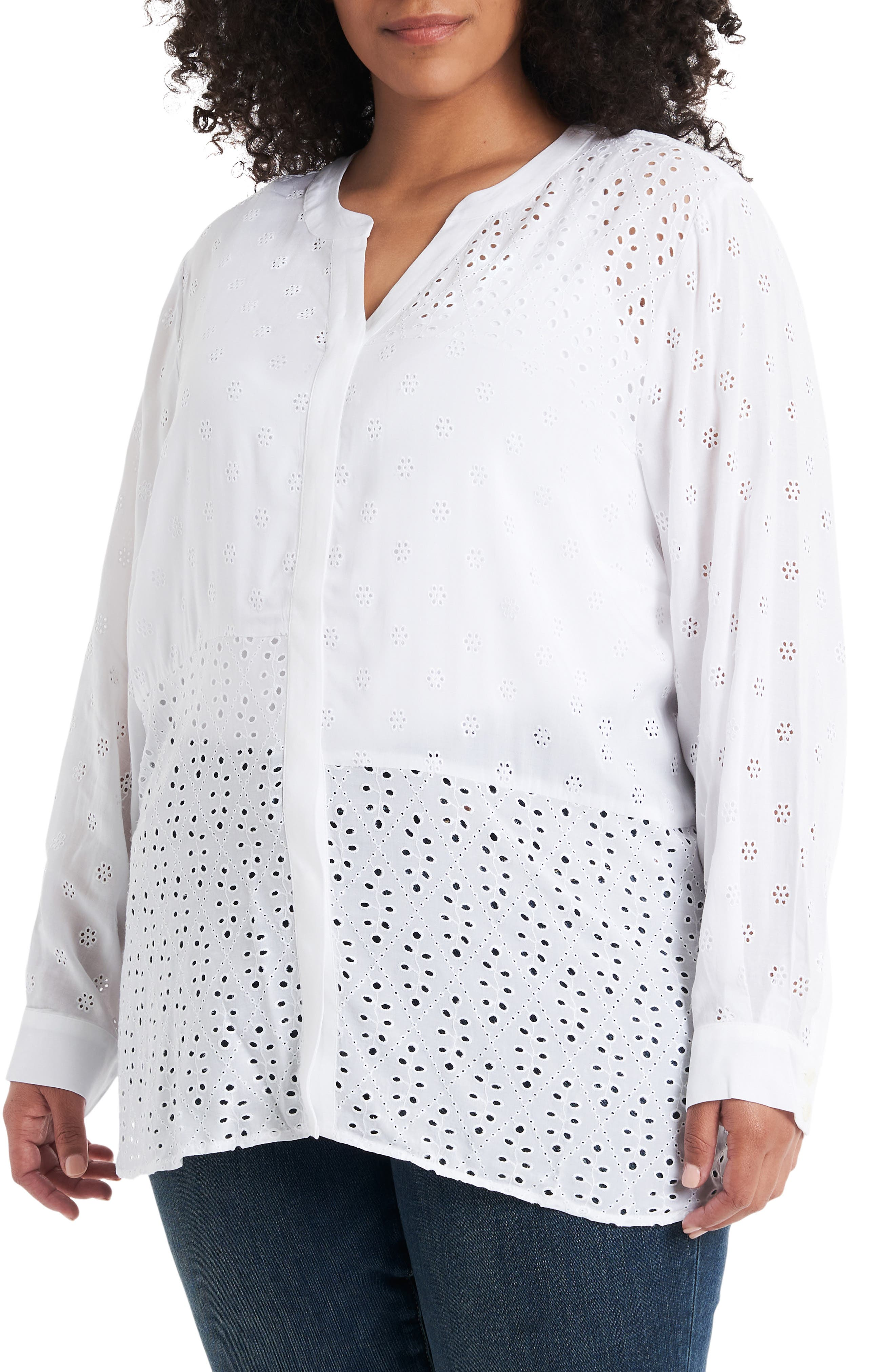Image of Vince Camuto Embroidered Eyelet Long Sleeve Blouse