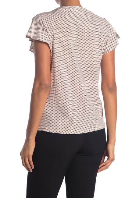 Image of Adrianna Papell Printed Ruffle Sleeve Top
