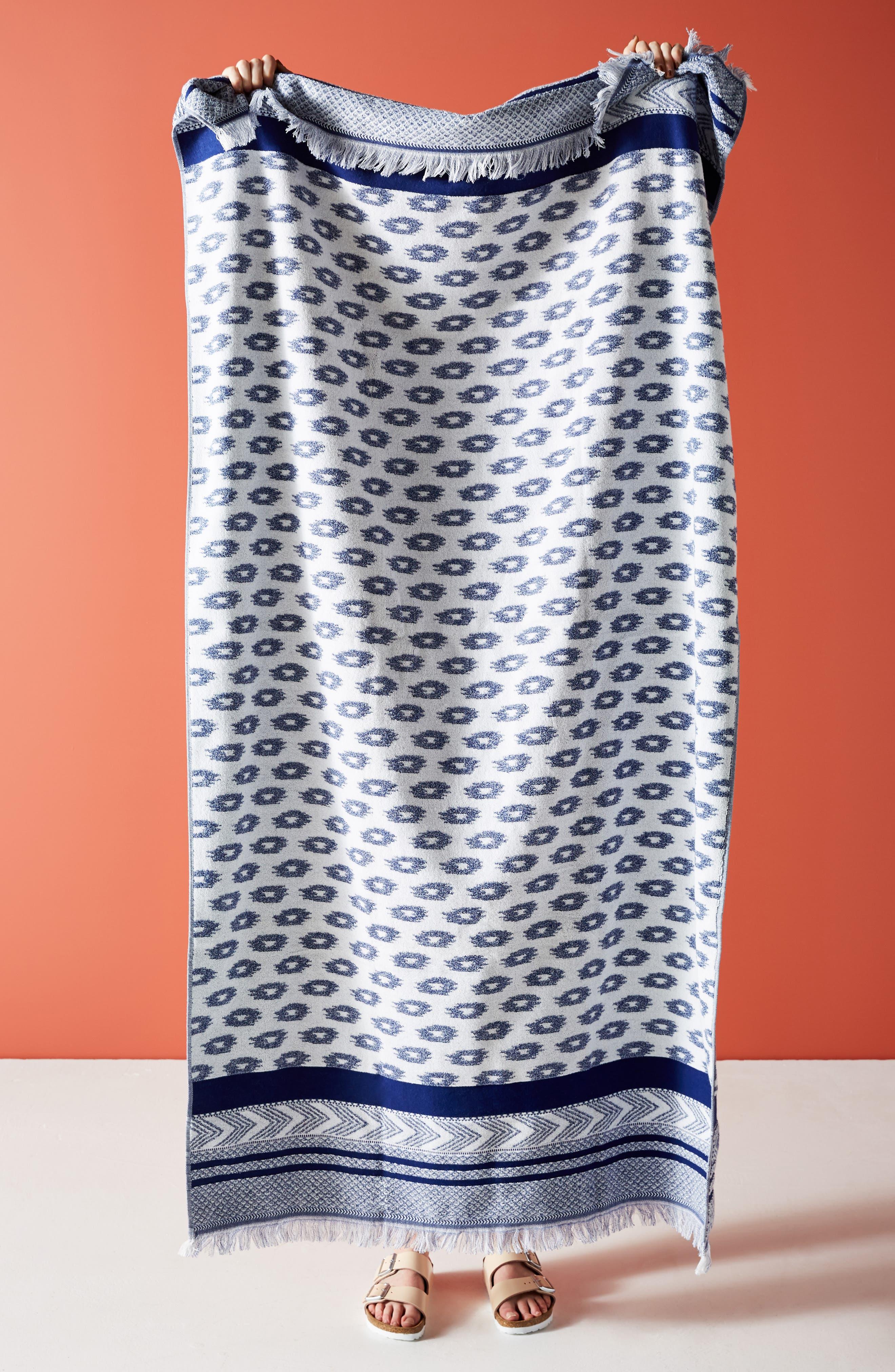 Talia Geo Fringe Beach Towel, Main, color, INDIGO