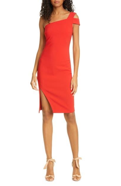 Likely Packard One-shoulder Sheath Dress In Scarlet