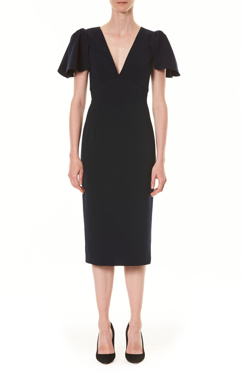 CAROLINA HERRERA Ruffle Sleeve Sheath Dress, Main, color, 001