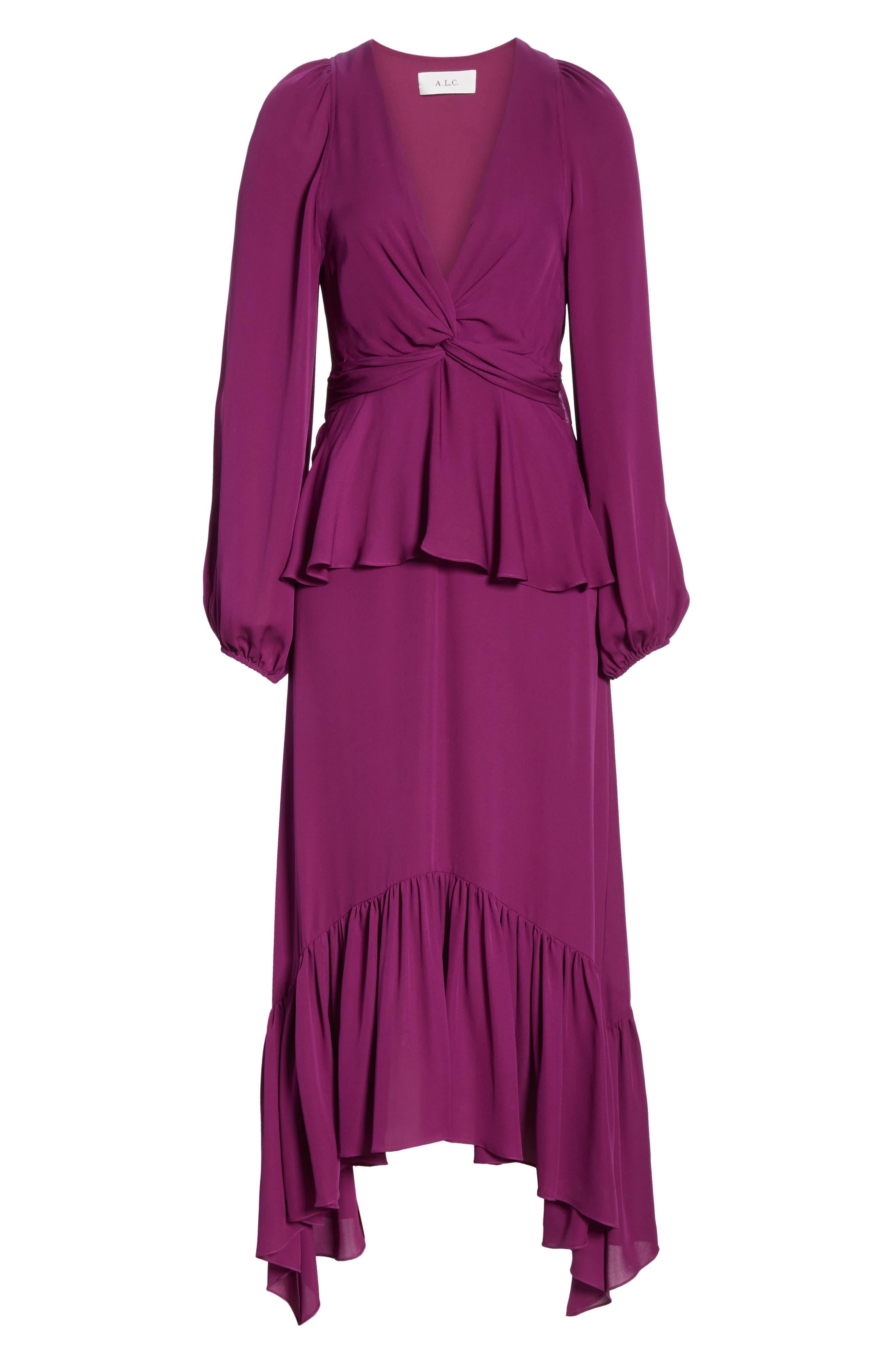 ,                             Stanwyck Ruffle Silk Dress,                             Alternate thumbnail 7, color,                             500