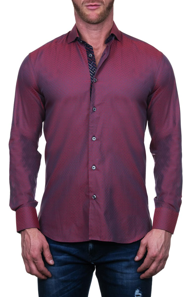 MACEOO Einstein Five Regular Fit Button-Up Shirt, Main, color, RED