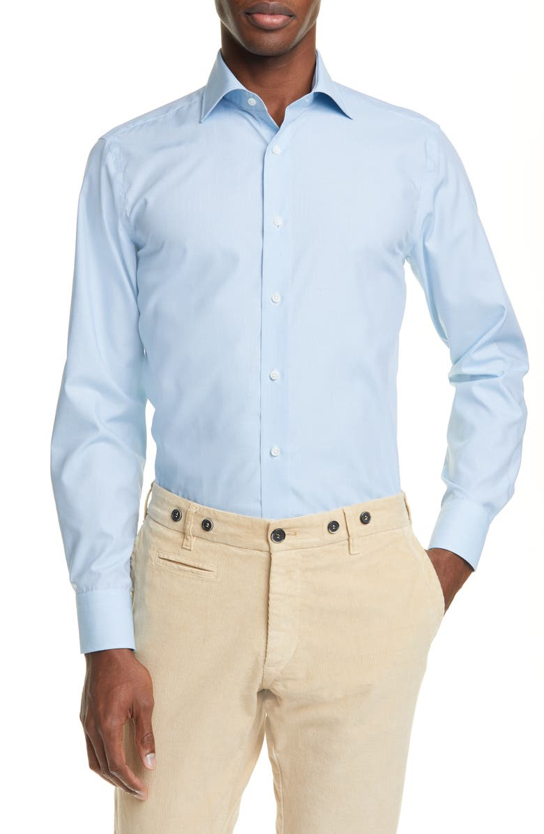 CANALI Regular Fit Check Dress Shirt, Main, color, GREEN