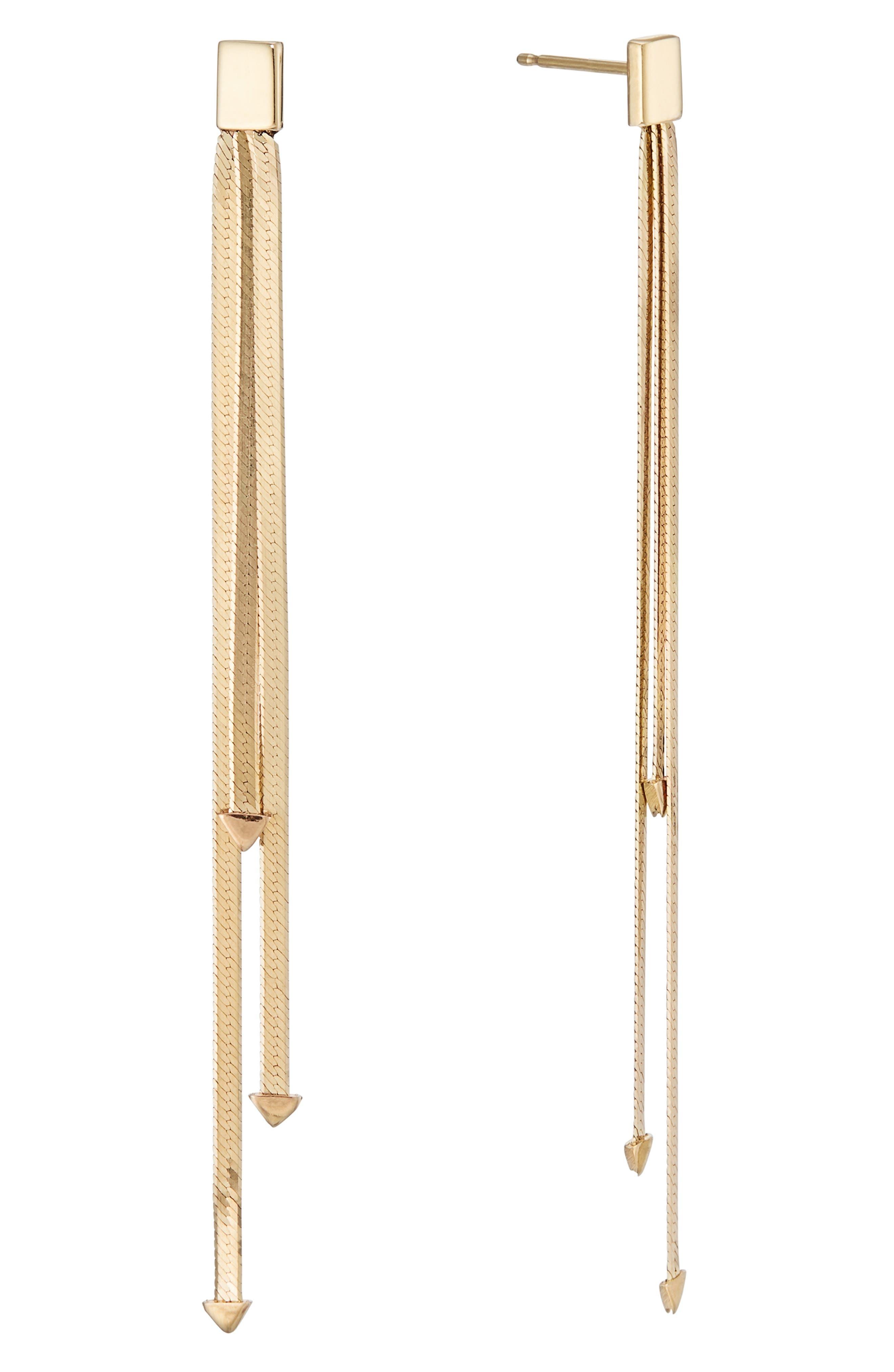 Layered Liquid 14K Gold Linear Earrings