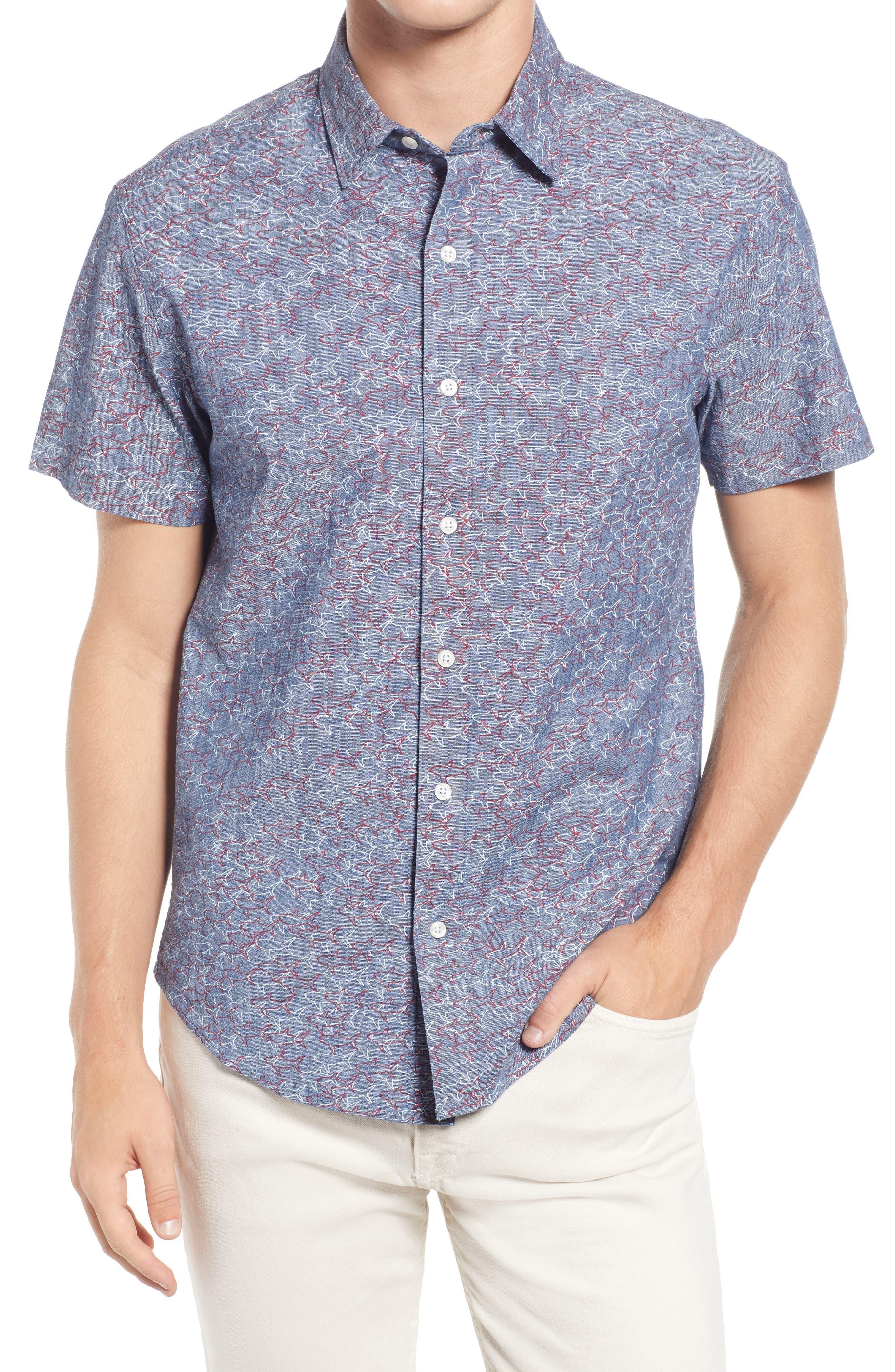 Riviera Slim Fit Shark Print Short Sleeve Stretch Button-Up Shirt