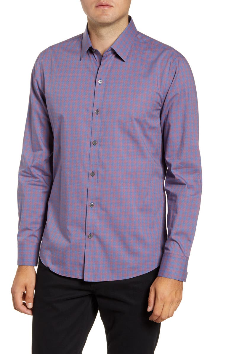 ZACHARY PRELL Middler Regular Fit Textured Check Button-Up Shirt, Main, color, PURPLE
