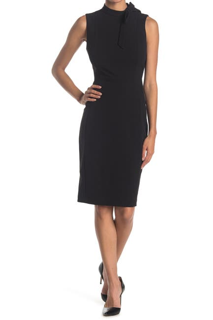 Image of Calvin Klein Sleeveless Tie Neck Sheath Dress