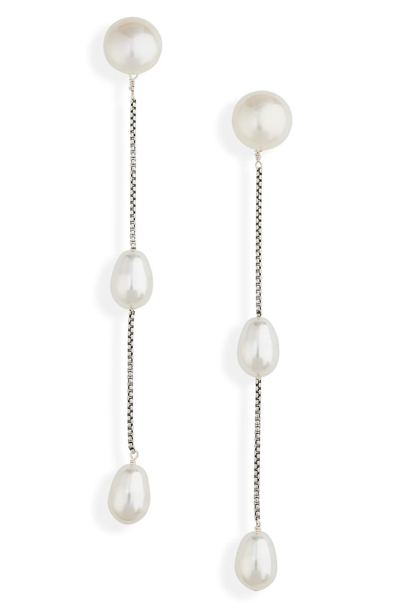 SOPHIE BUHAI Imitation Pearl Linear Drop Earrings, Main, color, STERLING SILVER/ FAUX PEARL