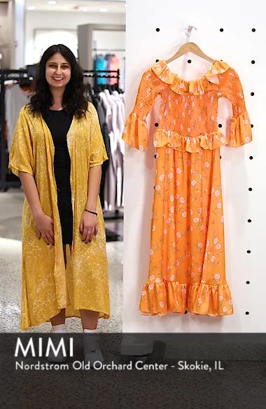 Shirred Ruffle Midi Dress, sales video thumbnail