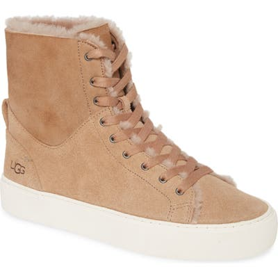 Ugg Beven Genuine Shearling High Top Sneaker, Beige