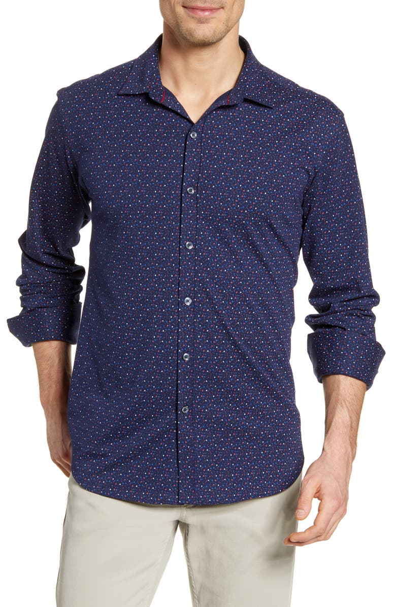 BUGATCHI Floral Knit Button-Up Shirt, Main, color, NAVY