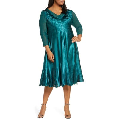 Plus Size Komarov Beaded V-Neck Cocktail Dress, Green