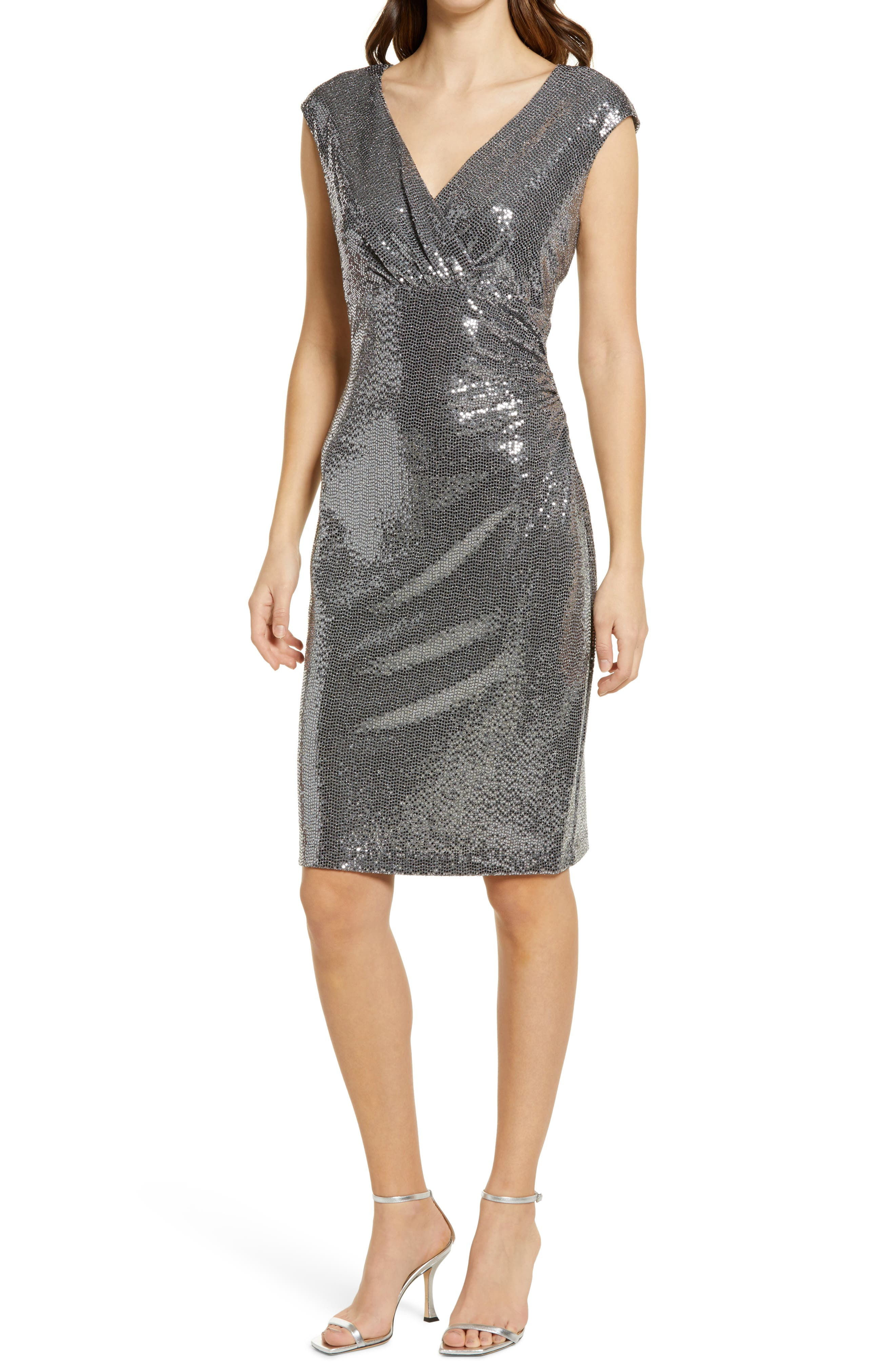 V-Neck Sequin Shift Dress