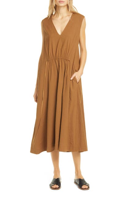 Image of Vince Drawstring V-Neck Midi Dress