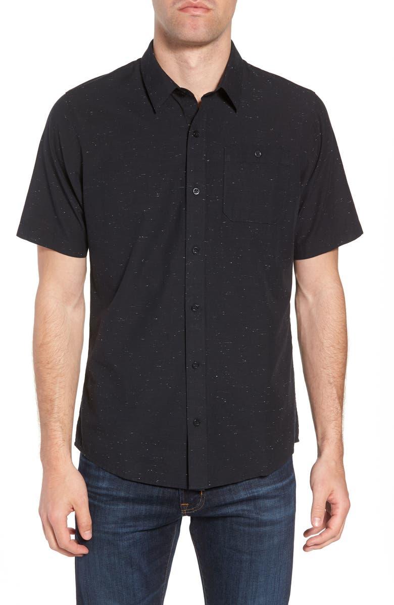 TRAVISMATHEW Travis Mathew Studebaker Regular Fit Sport Shirt, Main, color, BLACK