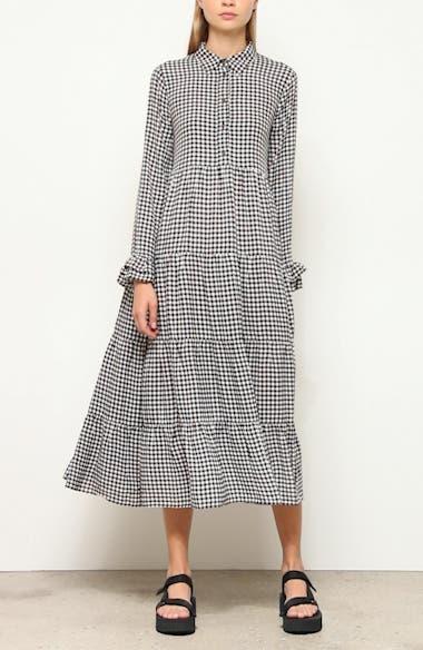 Gingham Print Crepe Long Sleeve Midi Dress, video thumbnail