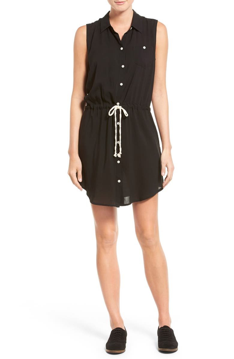SANDRA Sleeveless Tie Waist Shirtdress, Main, color, 001