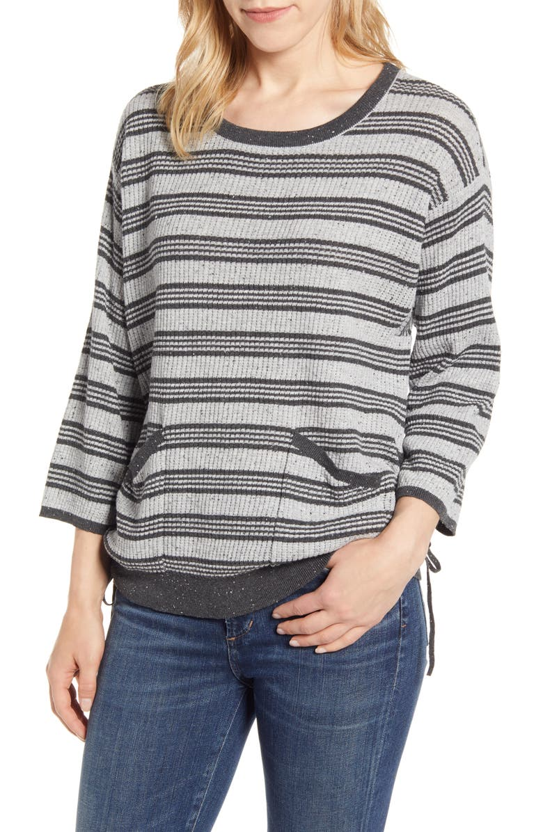 WIT & WISDOM Stripe Side Ruched Cotton Top, Main, color, HEATHER GREY/ CHARCOAL