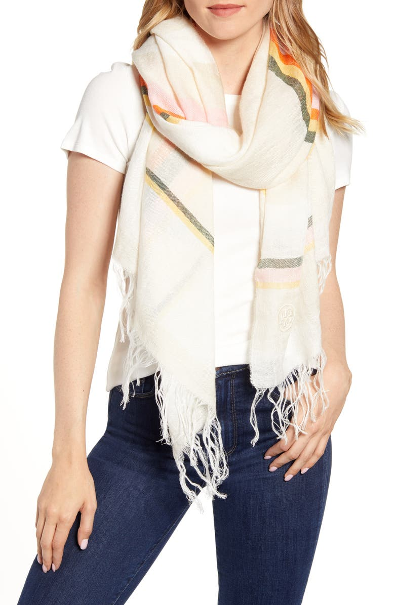 TORY BURCH Canyon Stripe Blanket Scarf, Main, color, CANYON STRIPE