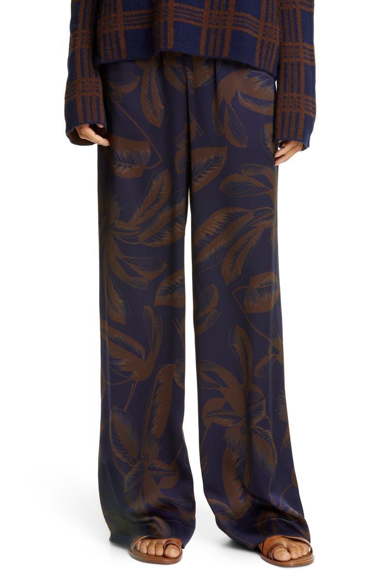 VINCE Palm Leaf Silk Wide Leg Pants, Main, color, MARINE