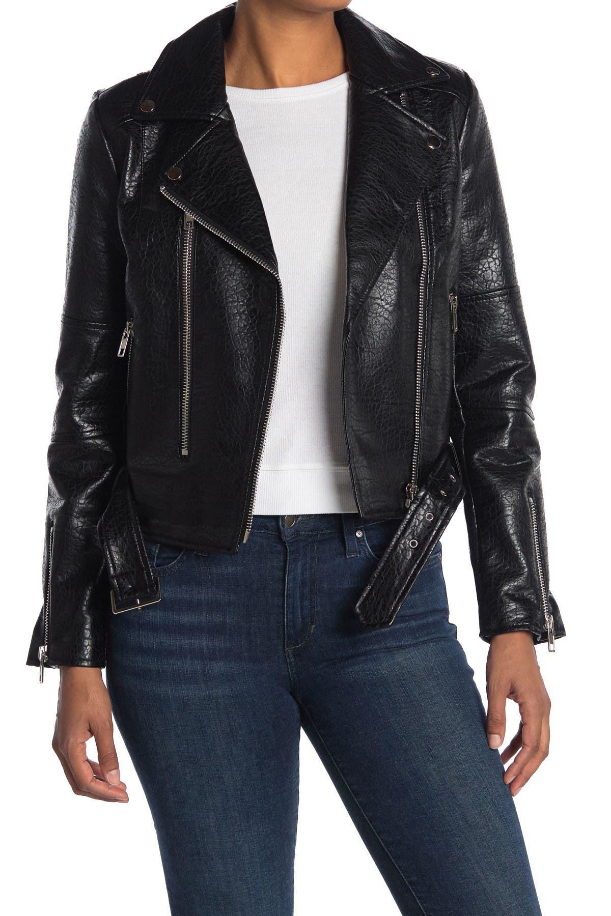 Image of NOIZE Meghan Vegan Leather Belted Jacket