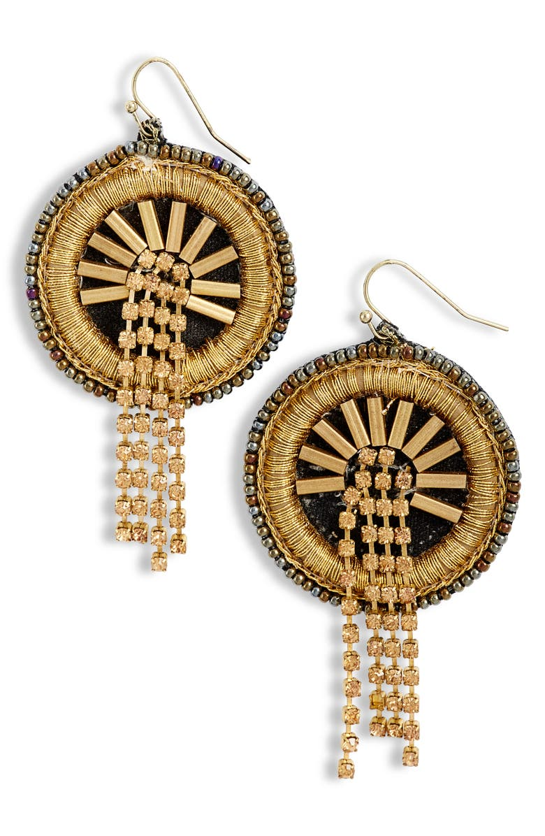 Mad Jewels Waterfall Disc Drop Earrings