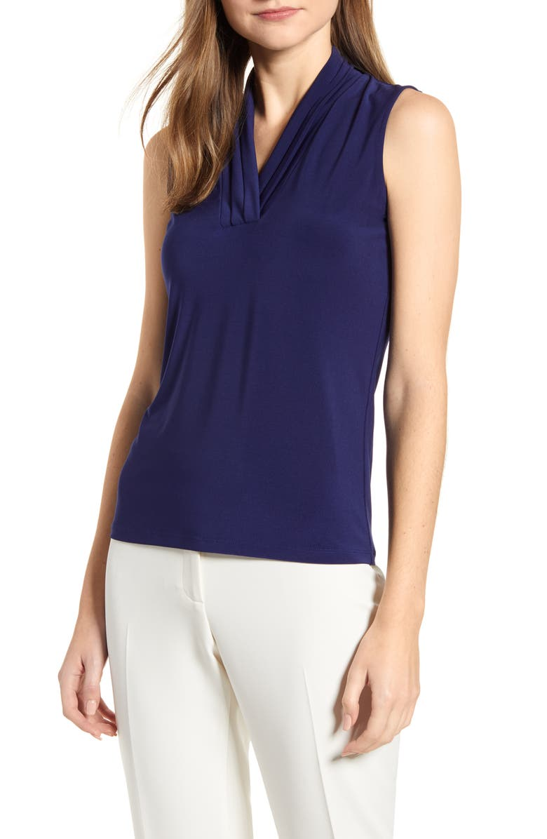 ANNE KLEIN Pleated Neck Sleeveless Top, Main, color, DISTANT MOUNTAIN