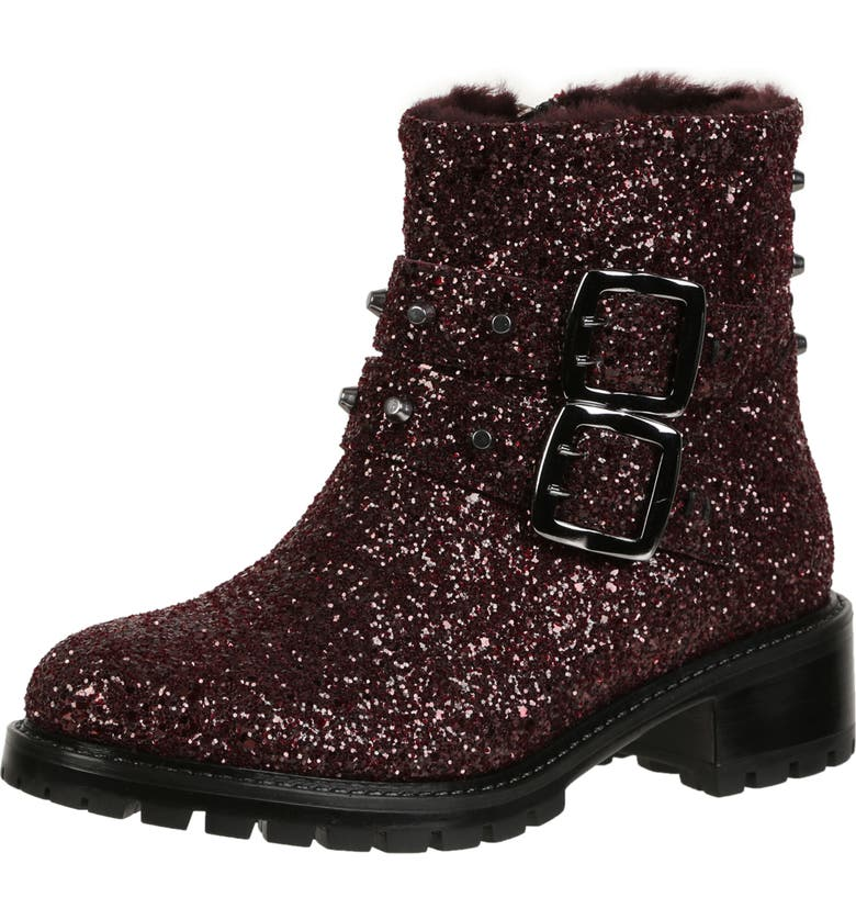 ROSS & SNOW Stefana SP Genuine Shearling Lined Waterproof Bootie, Main, color, CABERNET GLITTER LEATHER