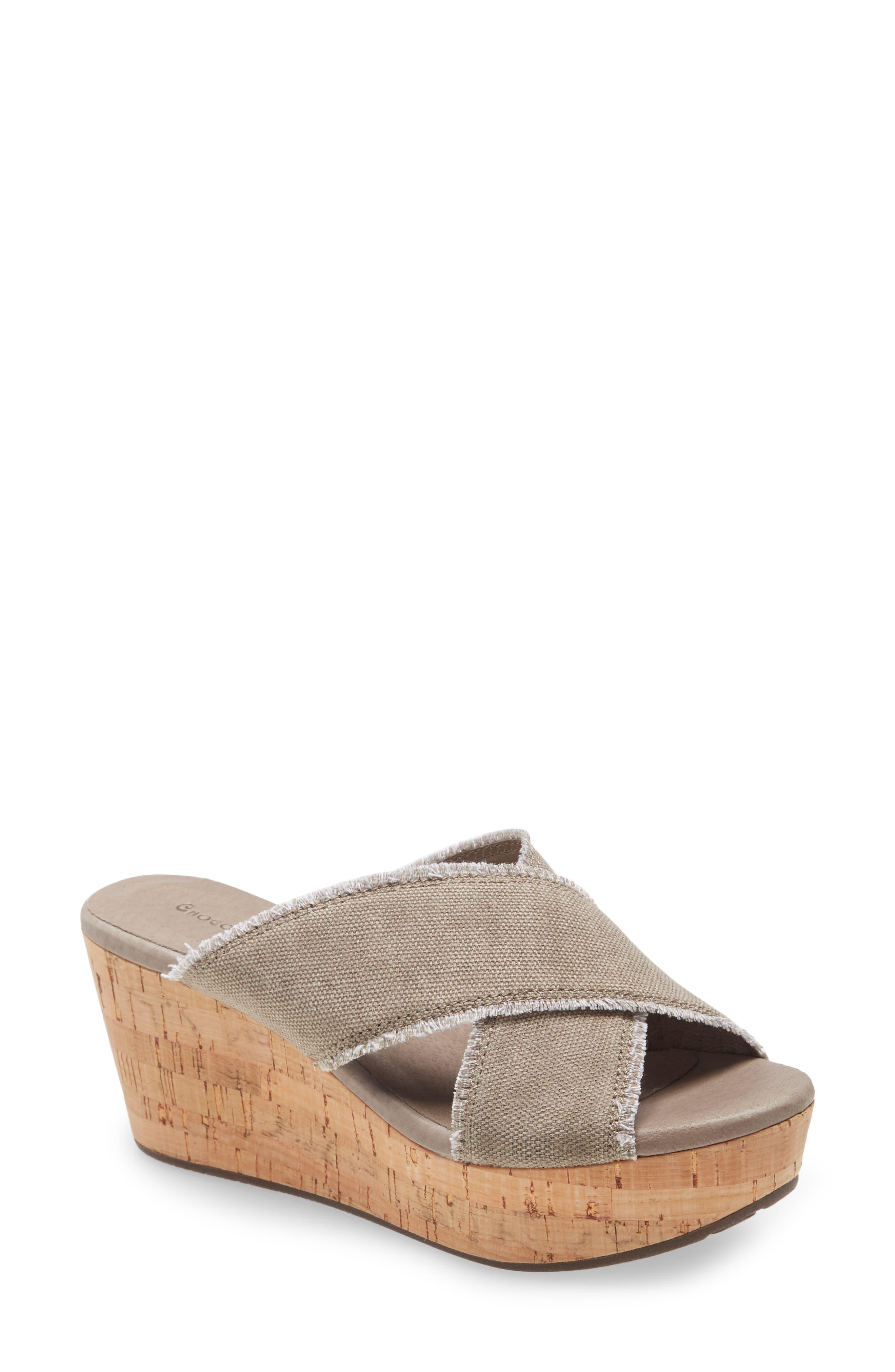 Crisscross Wedge Slide Sandal