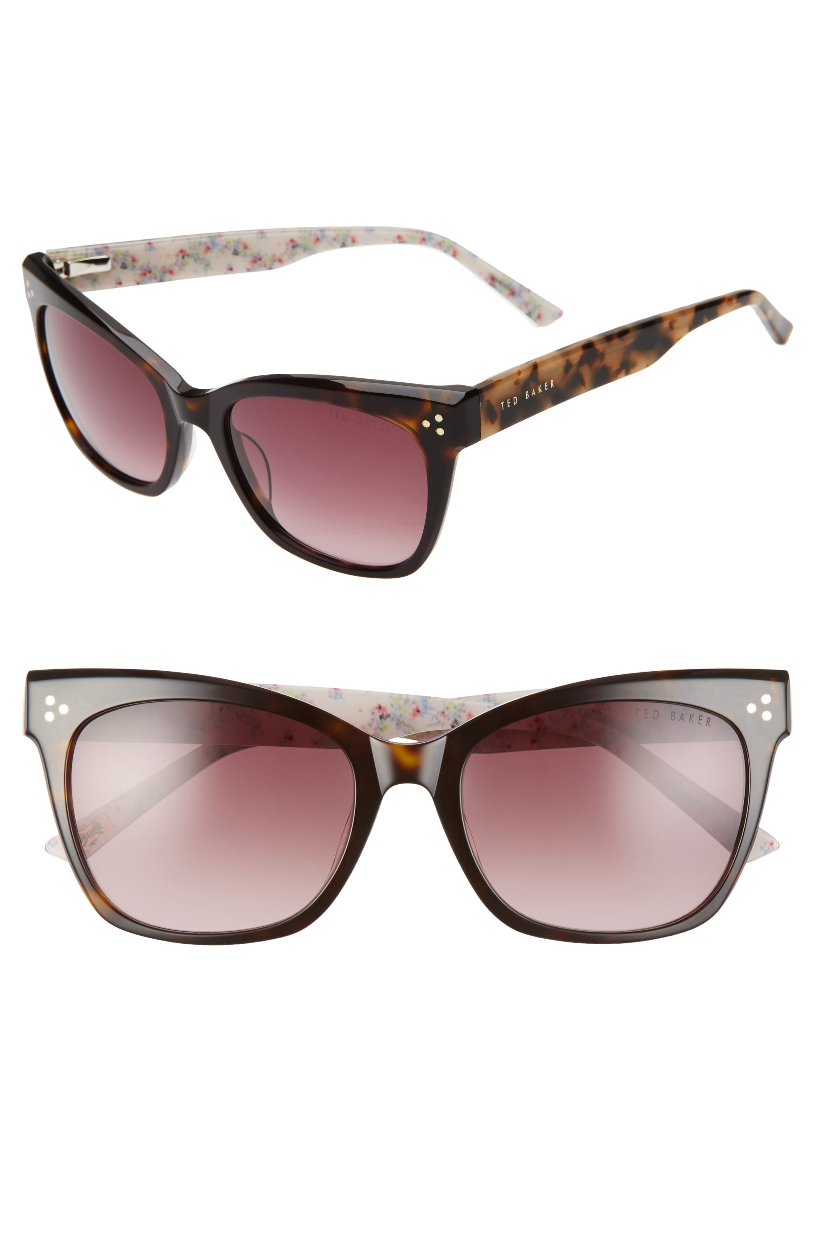 Flowery lining at the temples adds a pretty touch to classic sunglasses that offer full sun protection. Style Name: Ted Baker London 53mm Square Sunglasses. Style Number: 5987436. Available in stores.